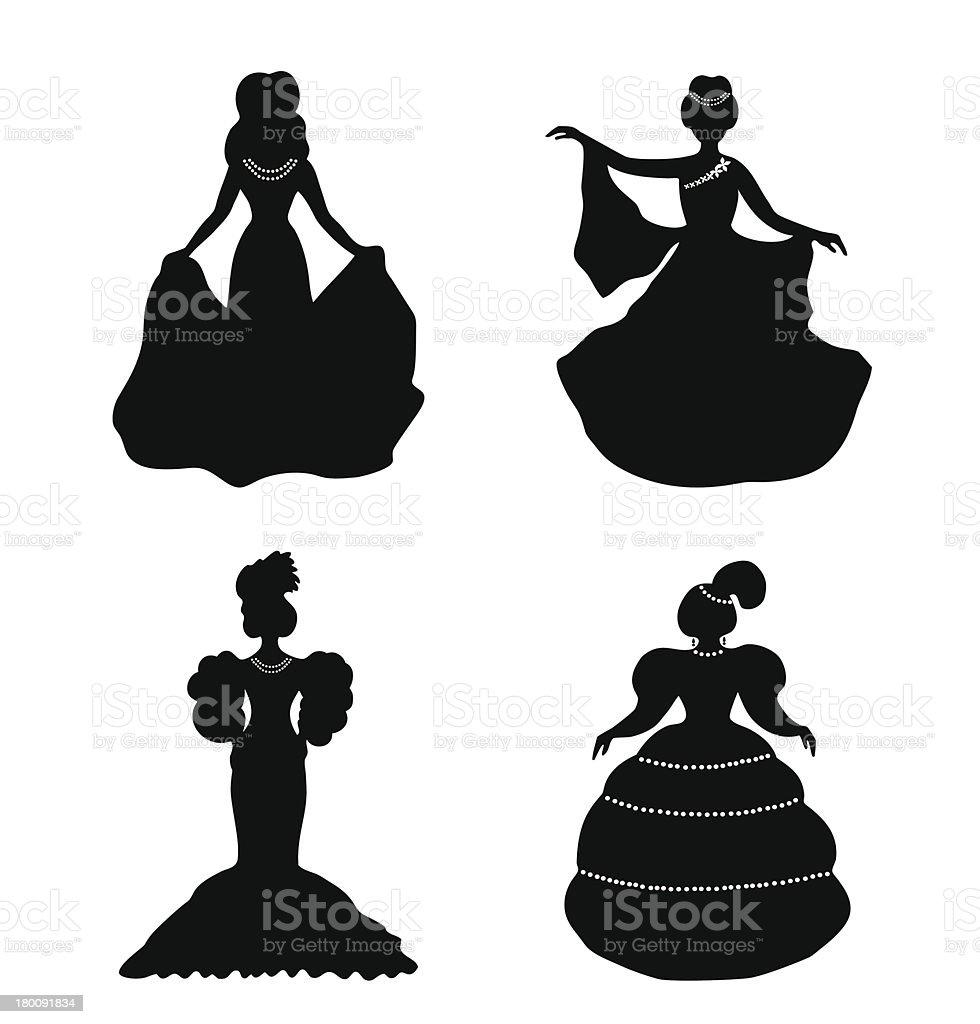 Black isolated women silhouettes vector art illustration