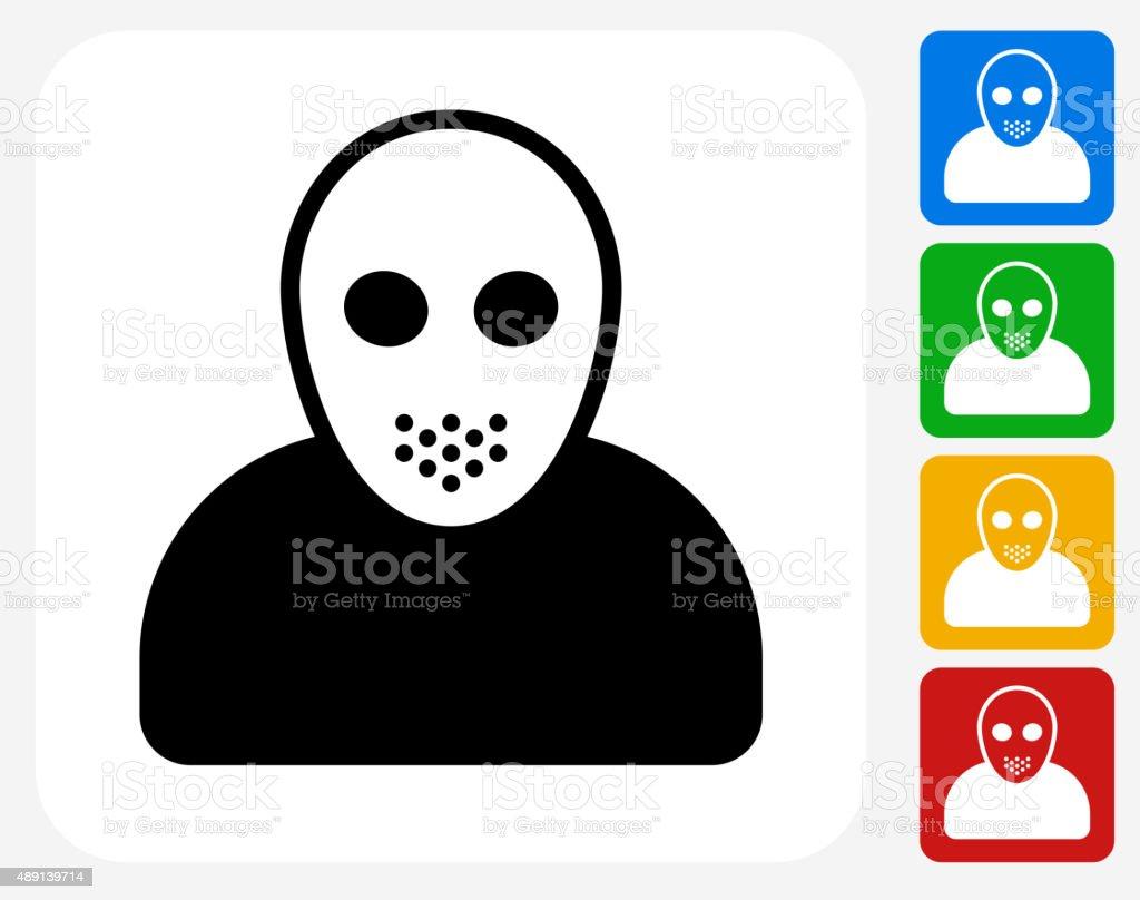 Black Jason Mask Icon Flat Graphic Design vector art illustration