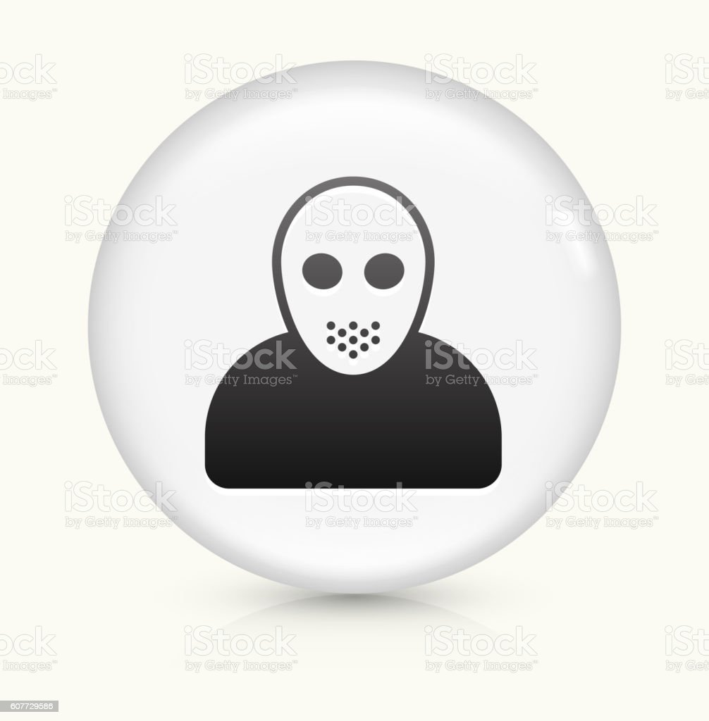 Black Jason Mask icon on white round vector button vector art illustration