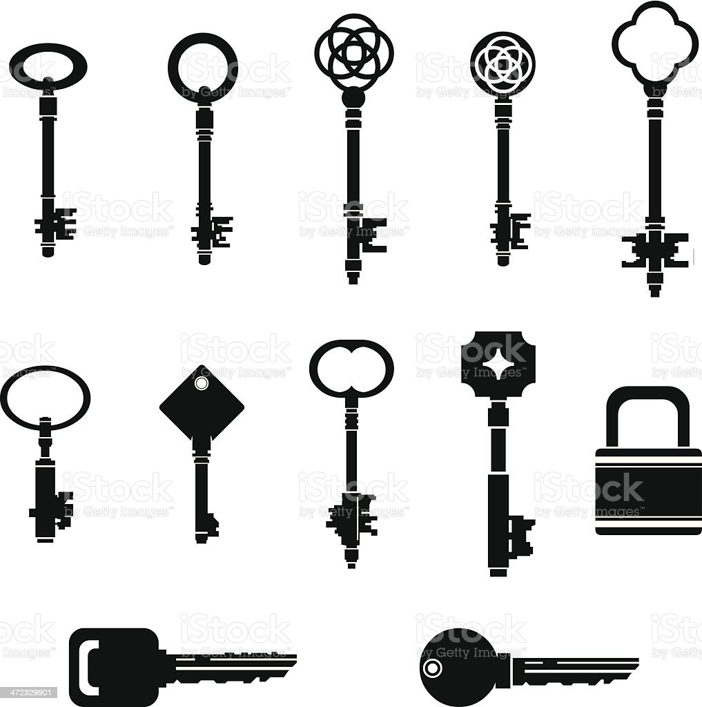 Black Key Silhouettes with Lock royalty-free stock vector art