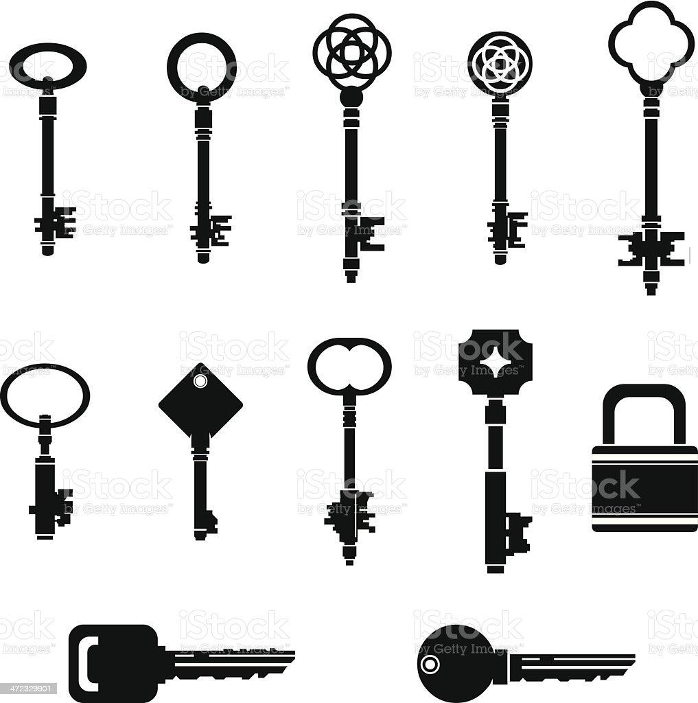 Black Key Silhouettes with Lock vector art illustration