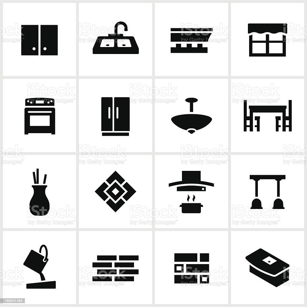 Black Kitchen Remodel Icons vector art illustration