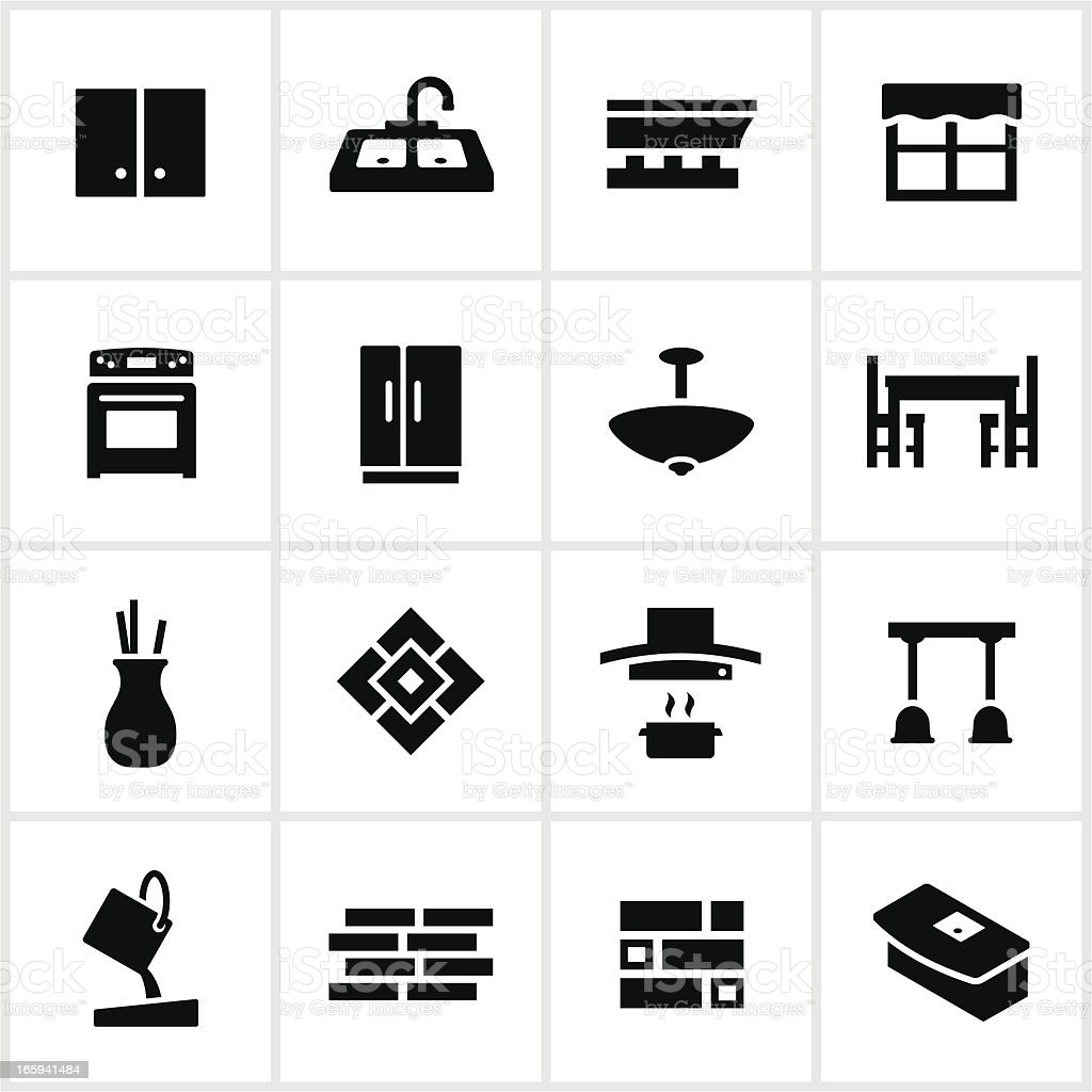 Black Kitchen Remodel Icons vector art illustration