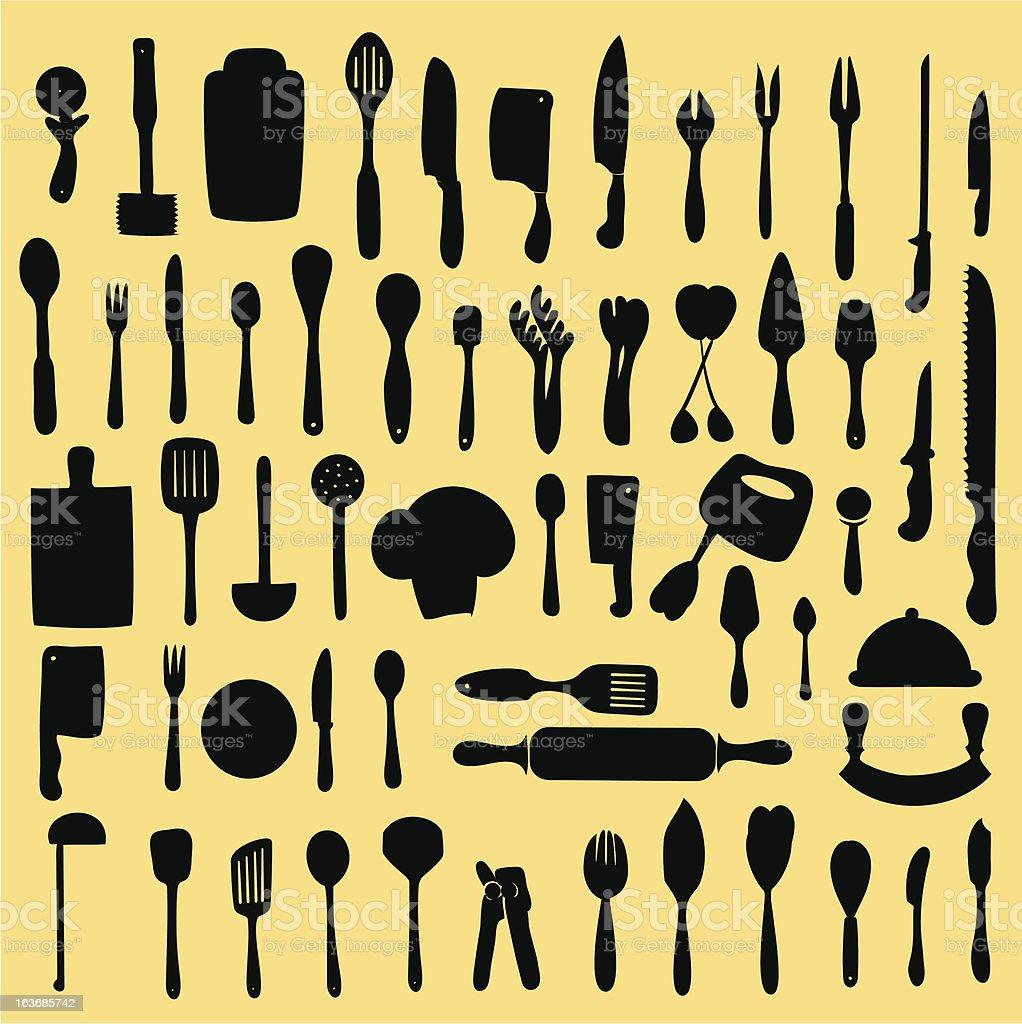 Black kitchen utensil icons on a yellow background vector art illustration