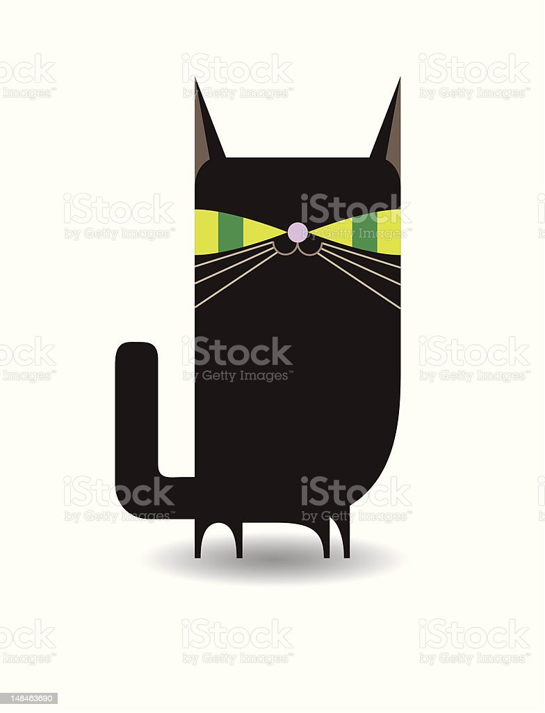 Black Kitty (Cat) vector art illustration