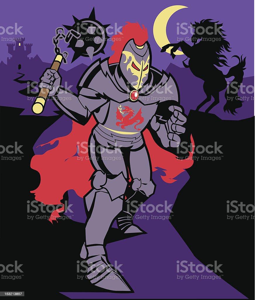 Black Knight vector art illustration