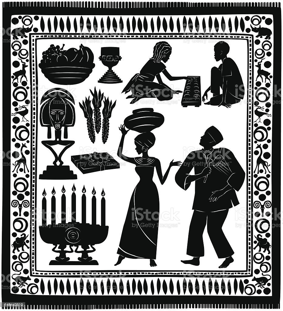 Black Kwanzaa Silhouettes royalty-free stock vector art