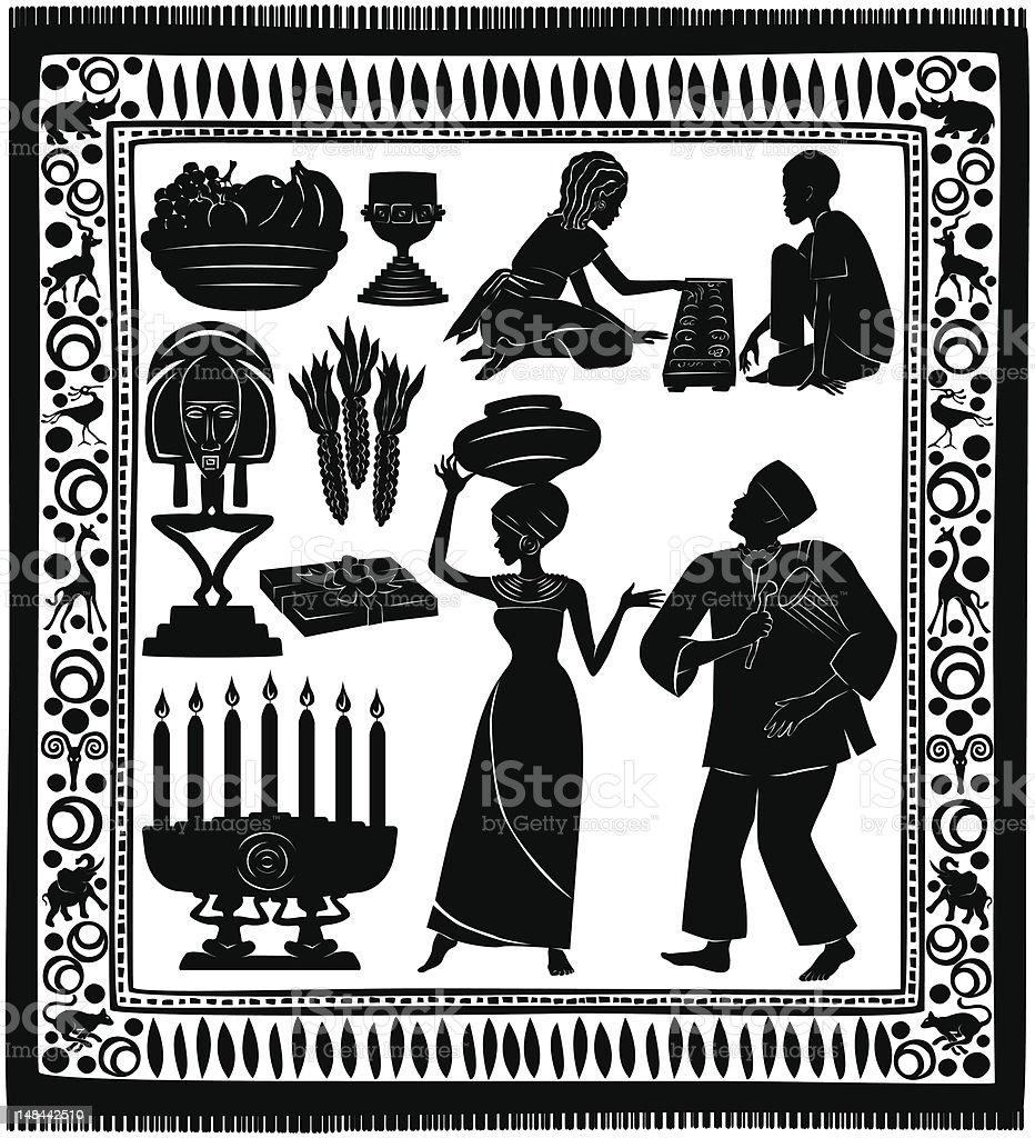 Black Kwanzaa Silhouettes vector art illustration