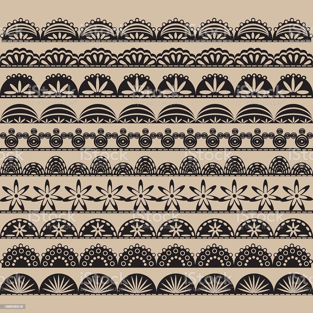 Black Lace Border set vector art illustration