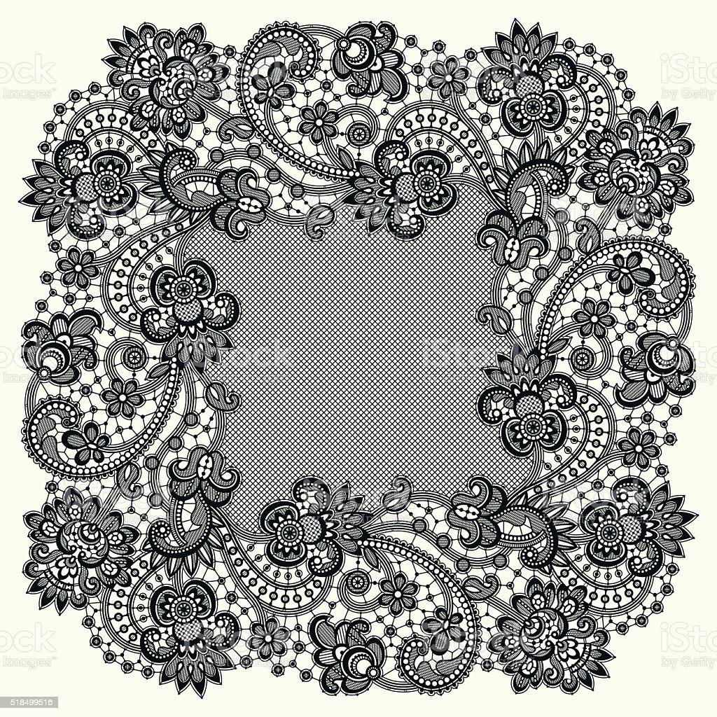 Black Lace Frame. vector art illustration