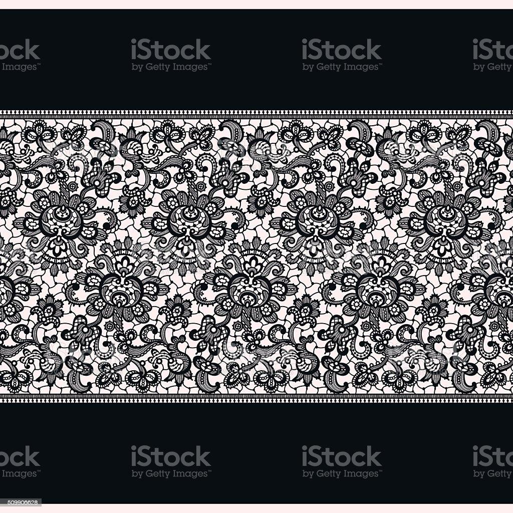 Black Lace. Horizontal Seamless Pattern. vector art illustration
