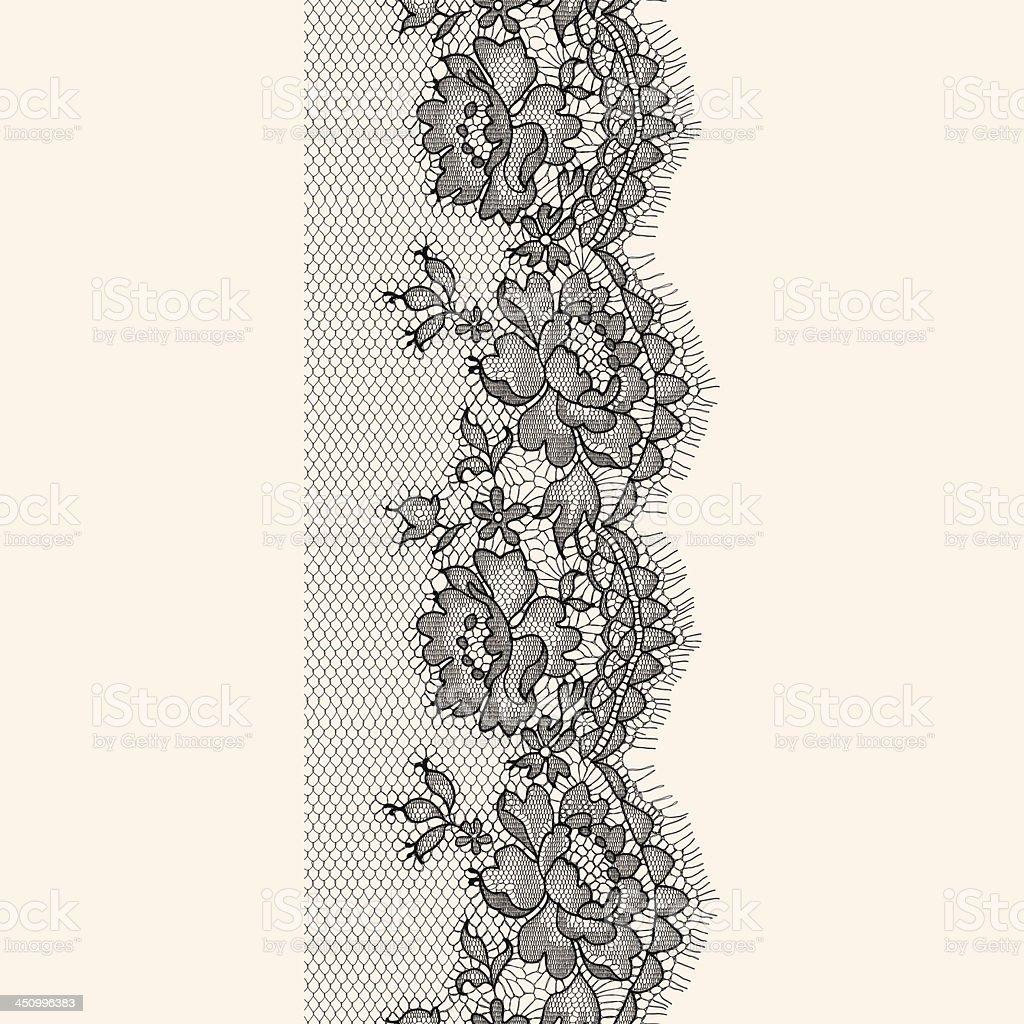 Black Lace ribbon seamless pattern vector art illustration