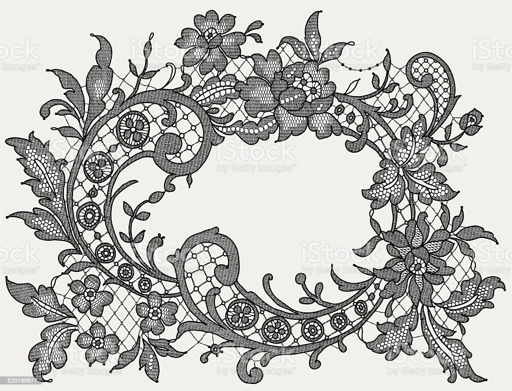 Black Lace. Romantic Frame. Floral Pattern. vector art illustration