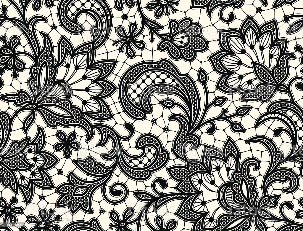Black lace Seamless Pattern vector art illustration