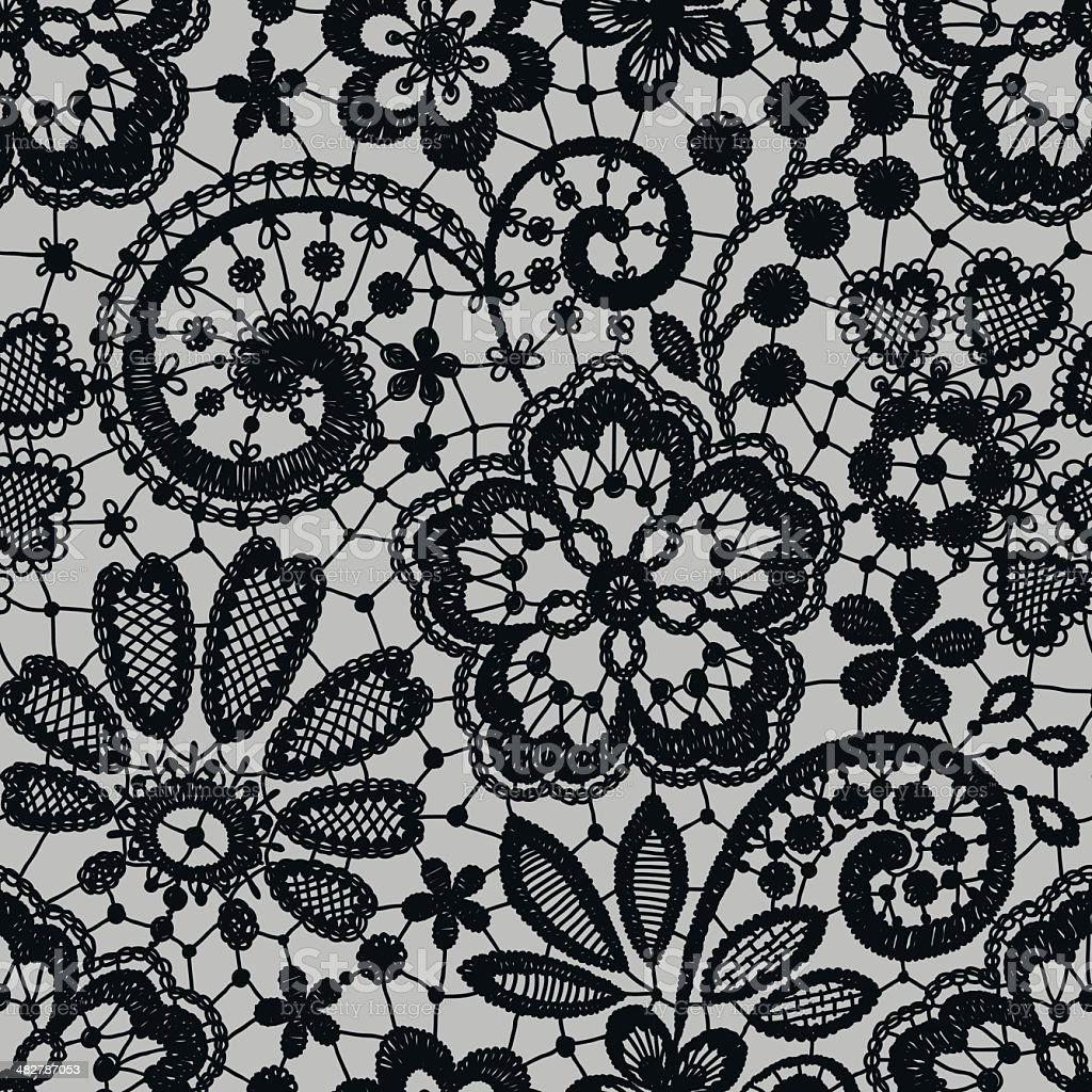Black Lace Seamless Pattern royalty-free stock vector art