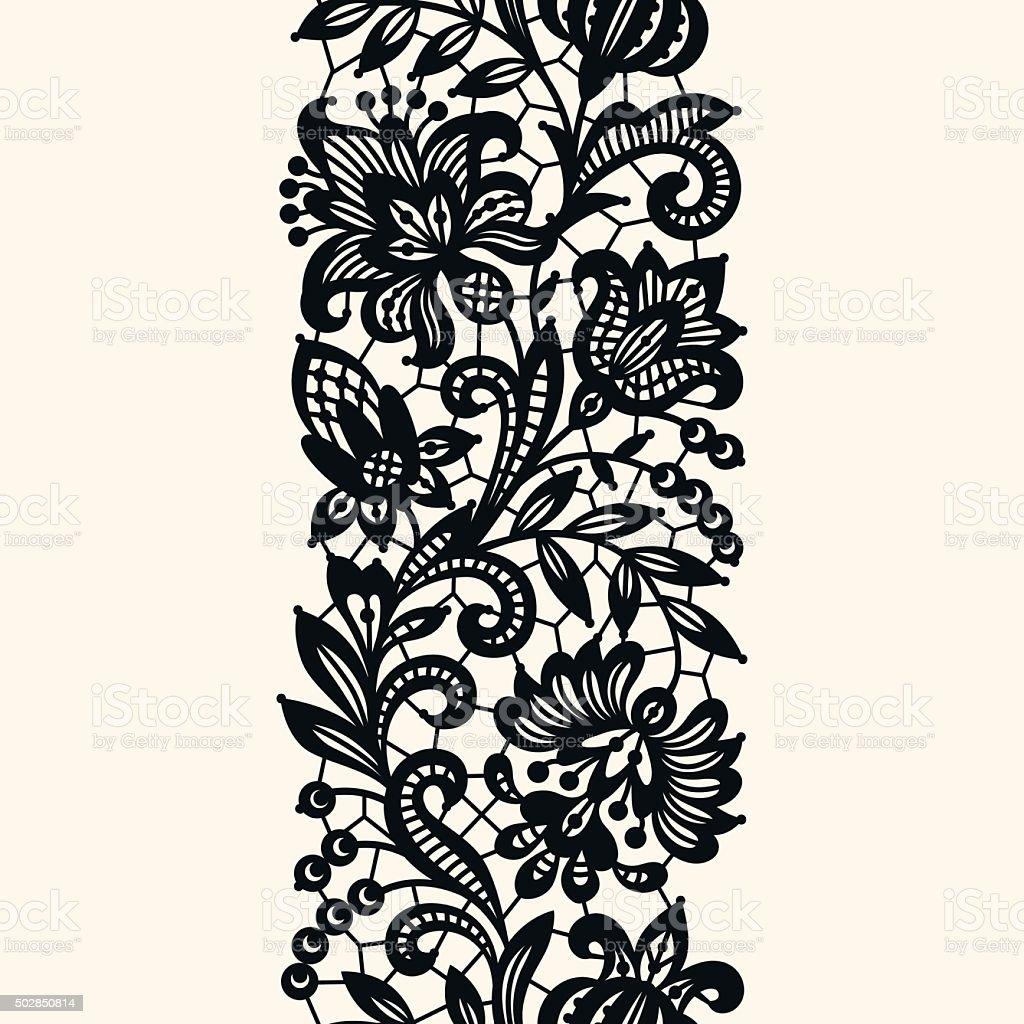 Black Lace. Seamless Pattern. vector art illustration