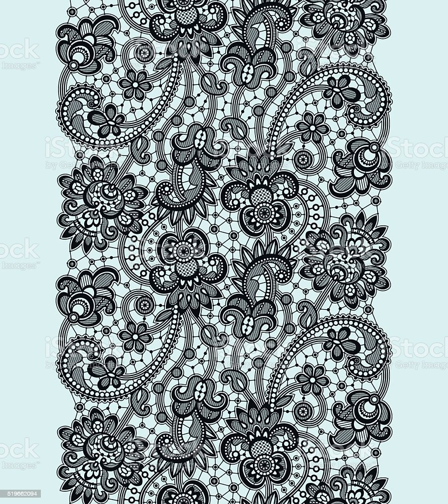 Black Lace Seamless Pattern. vector art illustration