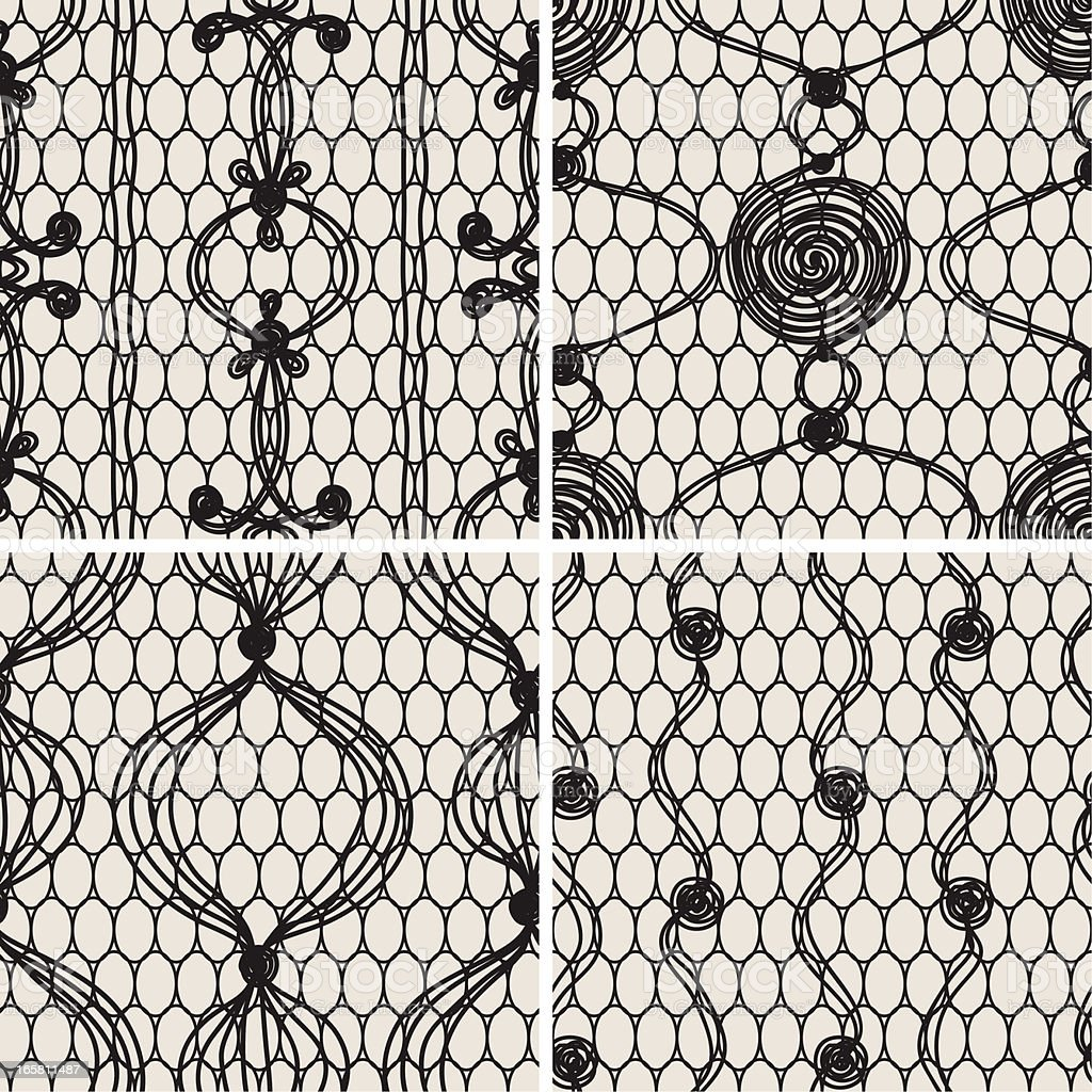 Black Lace Seamless Patterns. royalty-free stock vector art