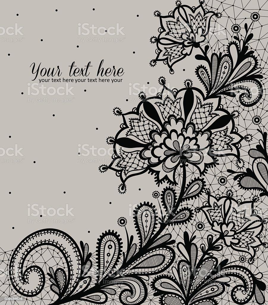 Black lace vector design. vector art illustration
