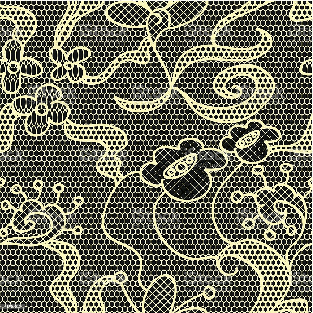Black lace vector fabric seamless pattern royalty-free stock vector art