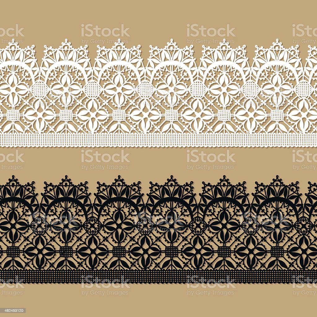 Black Lace. White Lace. Seamless Pattern. Shadow. vector art illustration