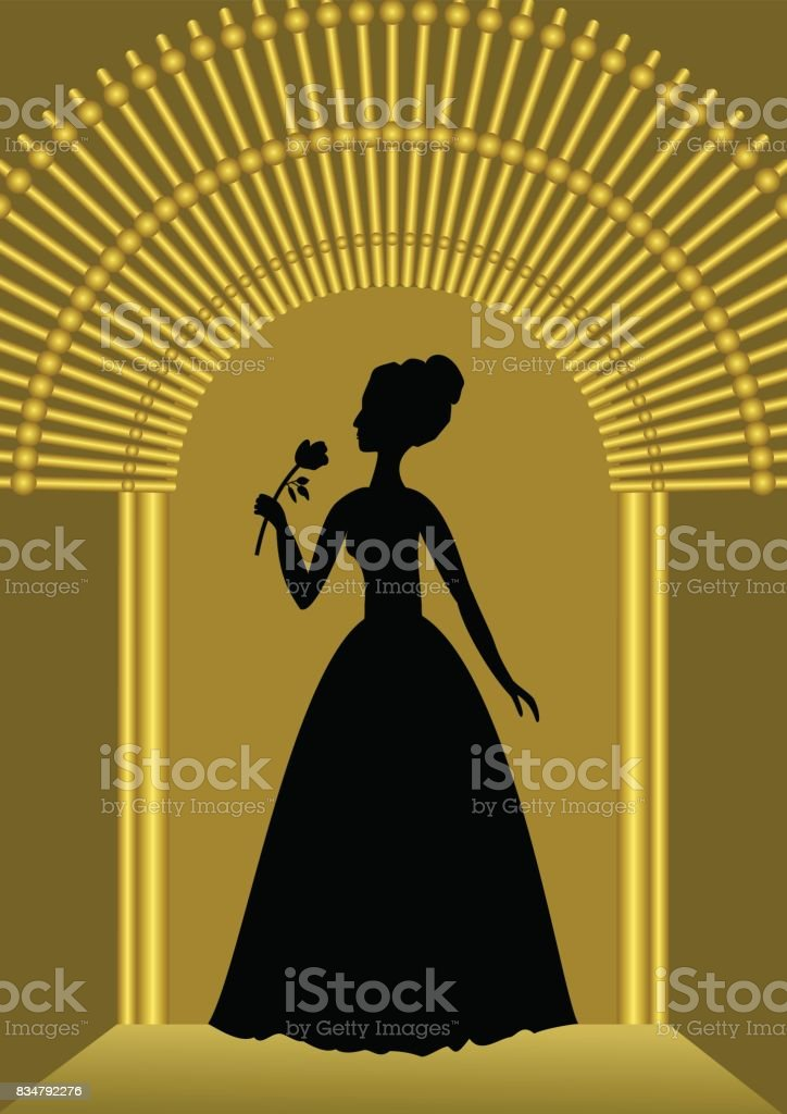 Black lady with flower silhouette in golden gate, luxurious template for ball invitation, announcement in vintage style vector art illustration