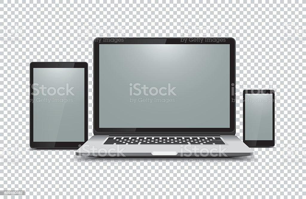 Black laptop, tablet, phone on transparent background vector art illustration