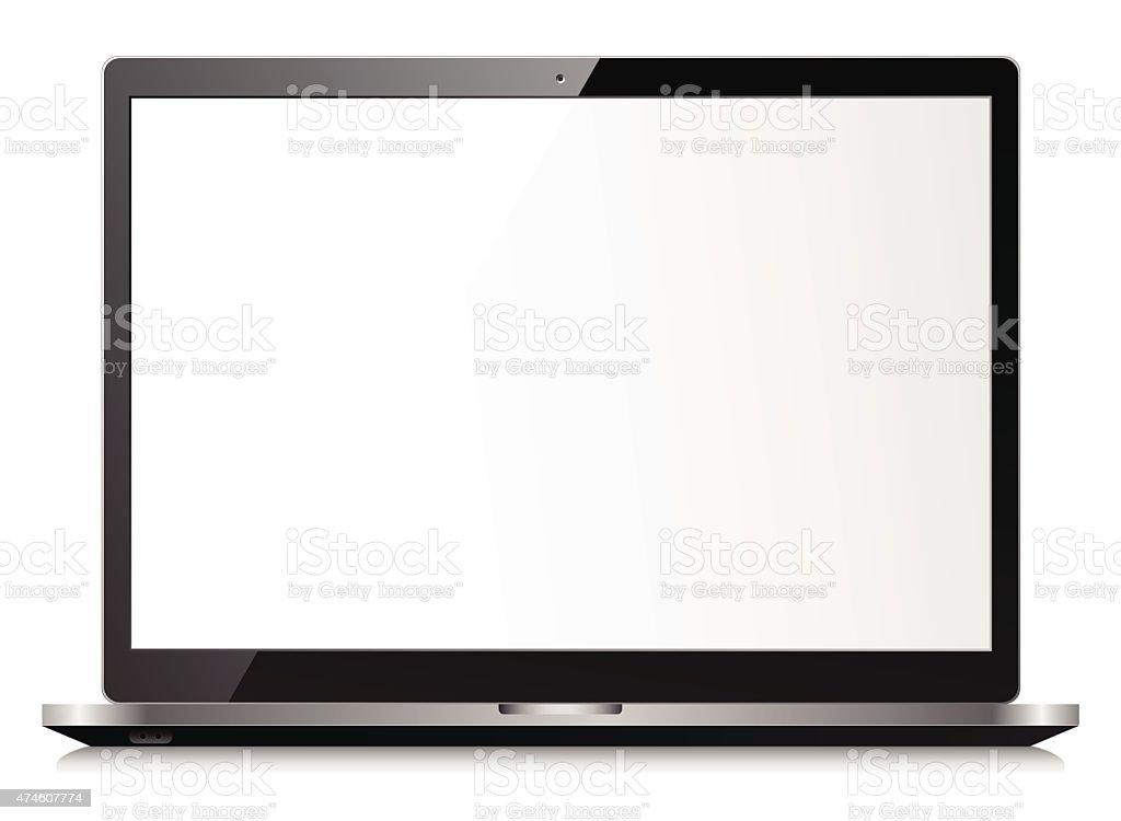 Black laptop vector art illustration