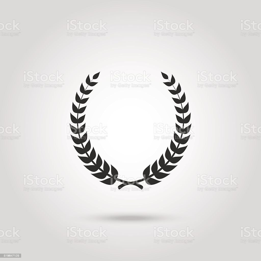 Black laurel silhouette foliate circular vector art illustration