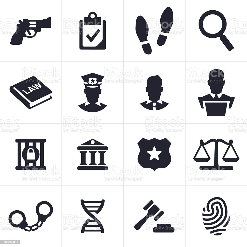Black law and crime icons against white background vector art illustration