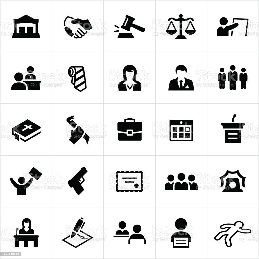 Black Law, Crime and Justice Icons vector art illustration