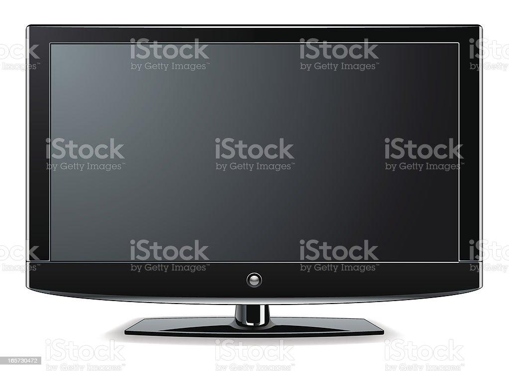 Black LCD, LED or Plasma TV Screen. vector art illustration
