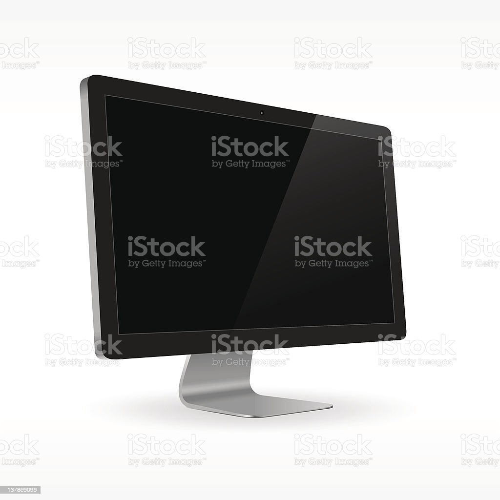 Black LCD screen sideview vector art illustration