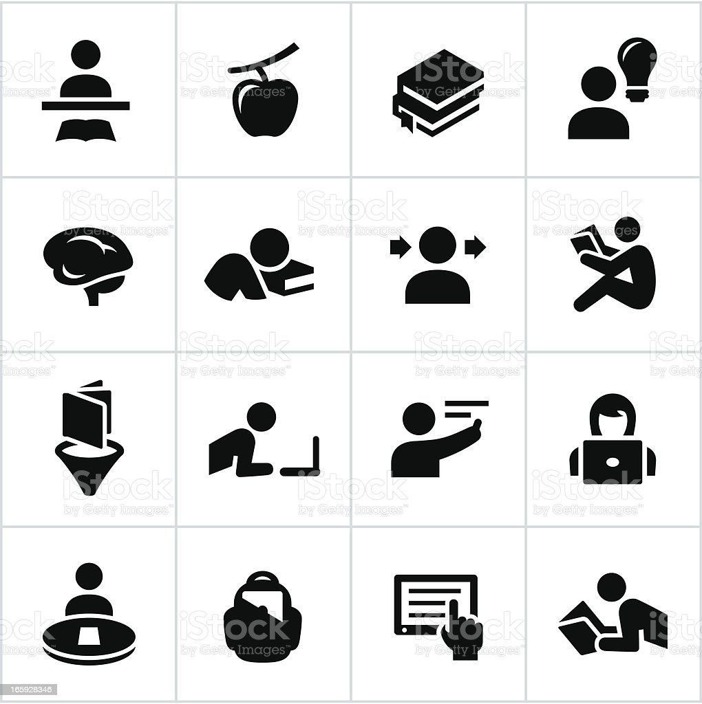 Black Learning Icons vector art illustration