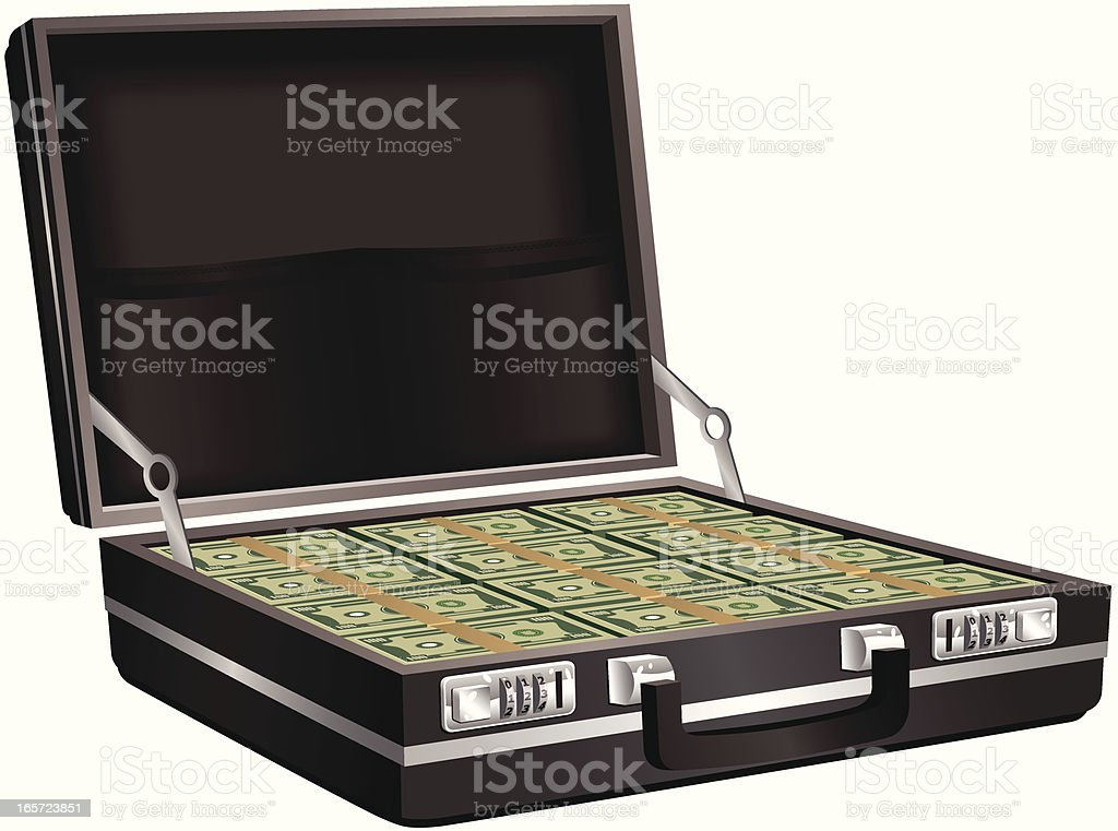 Black leather briefcase full of money royalty-free stock vector art