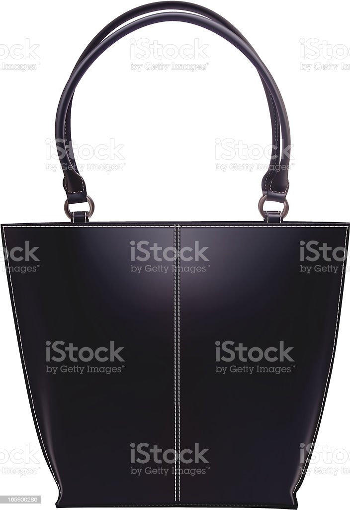 Black leather handbag isolated on a white background vector art illustration