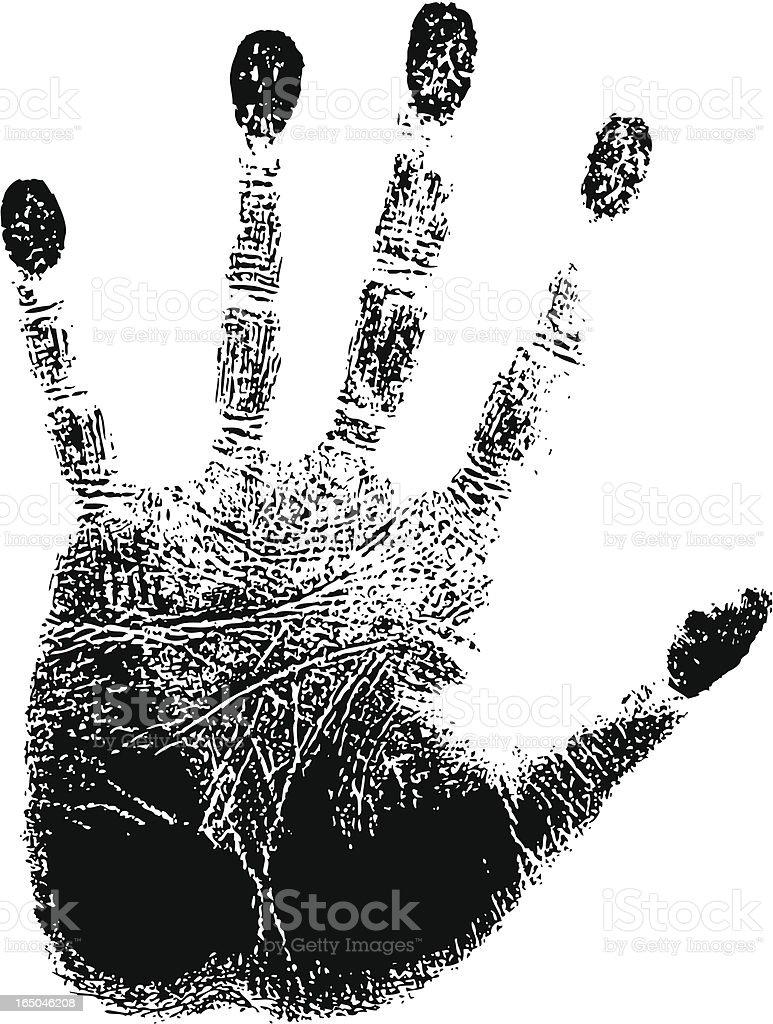 Black left handprint on white paper vector art illustration
