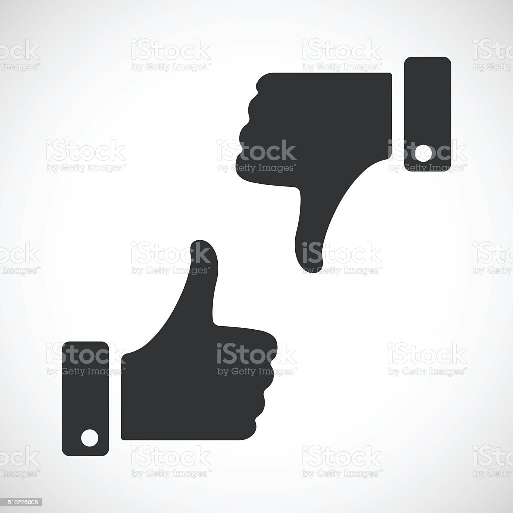 Black like and dislike icons set vector art illustration
