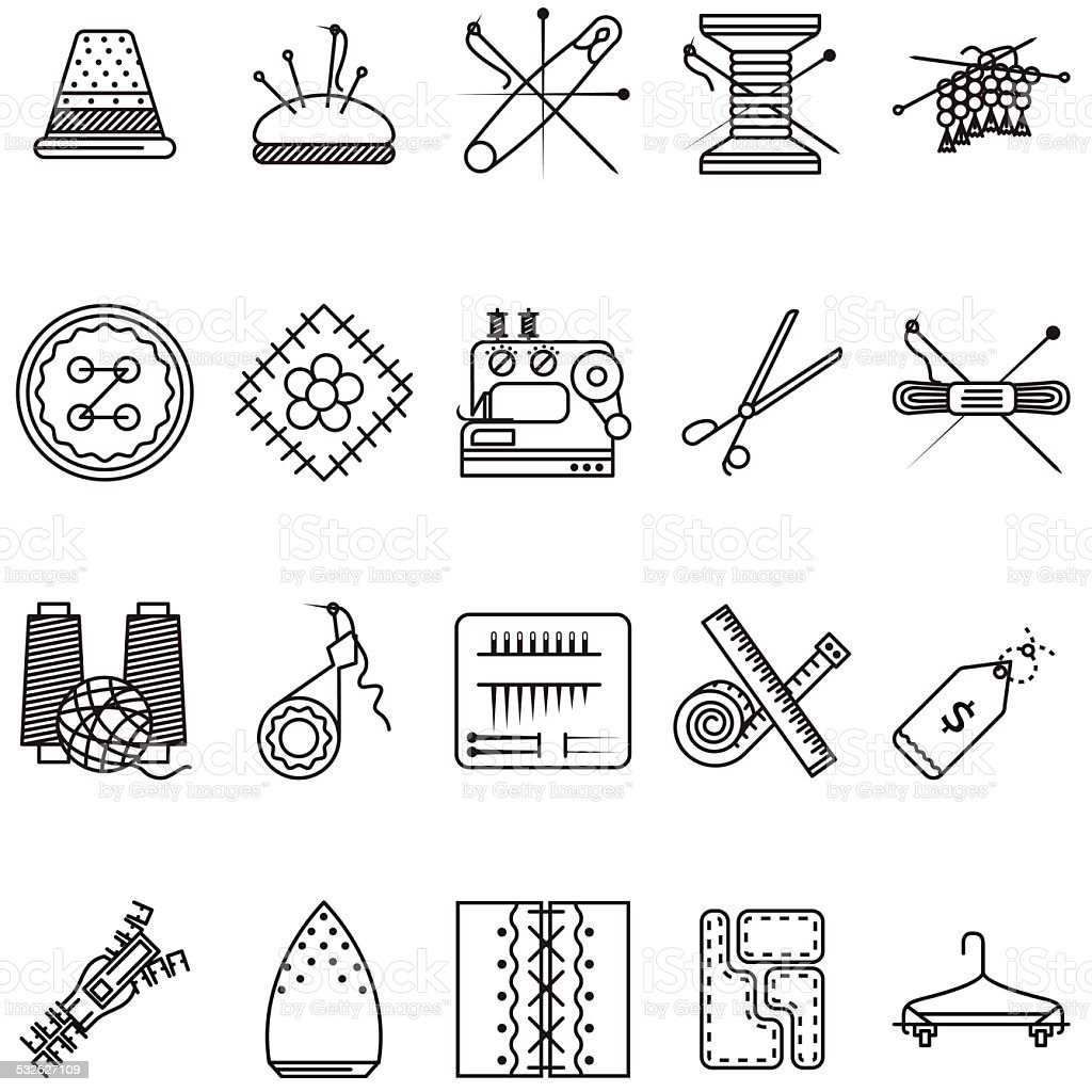 Black line icons vector collection for sewing or handmade vector art illustration