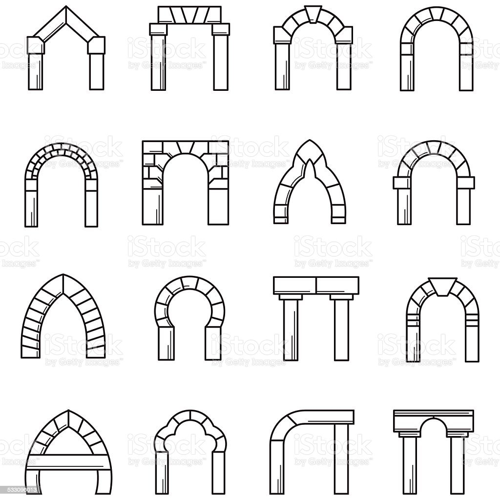 Black line icons vector collection of arches vector art illustration
