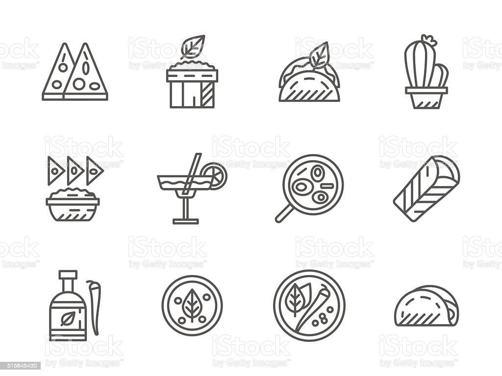 Black line vector icons for mexican menu vector art illustration