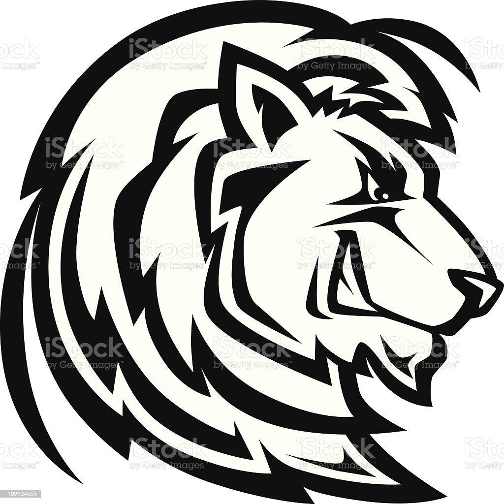 black lion head logo or mascot on white background stock