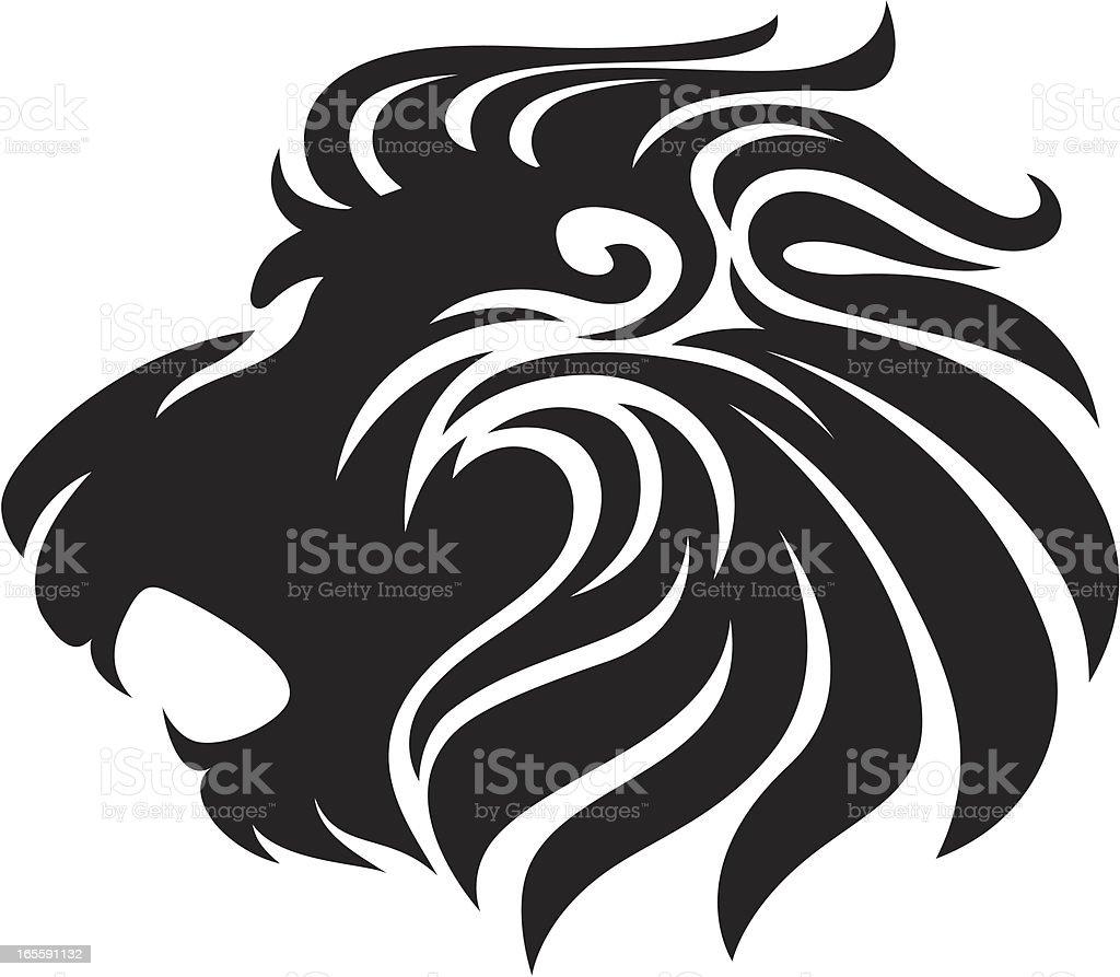 Black Lion vector art illustration