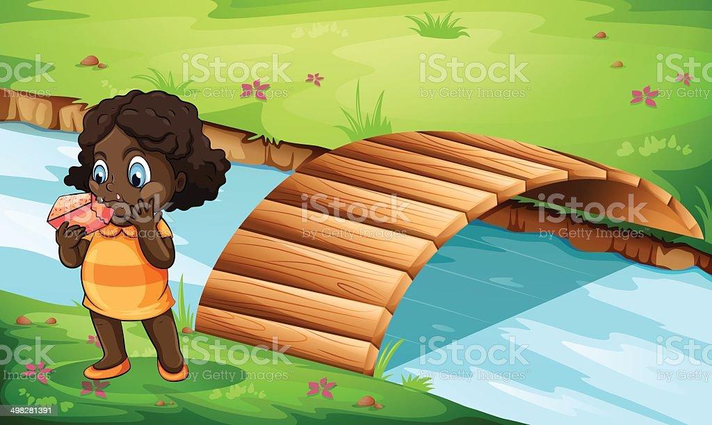 Black little girl near the bridge royalty-free stock vector art