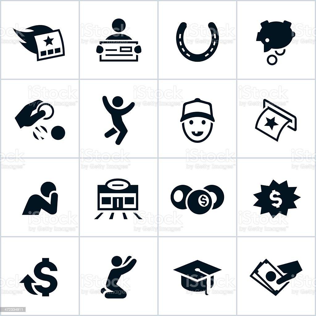 Black Lottery Icons vector art illustration