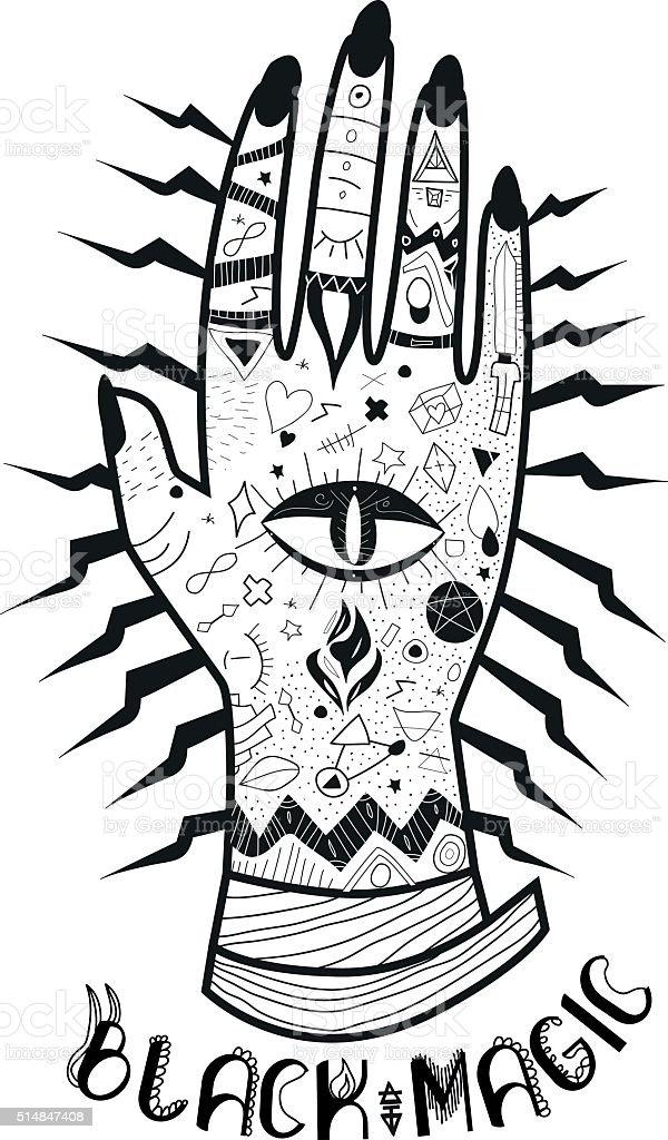 Black magic hand vector art illustration