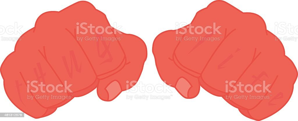 Black man fists with tattoo on fingers vector art illustration