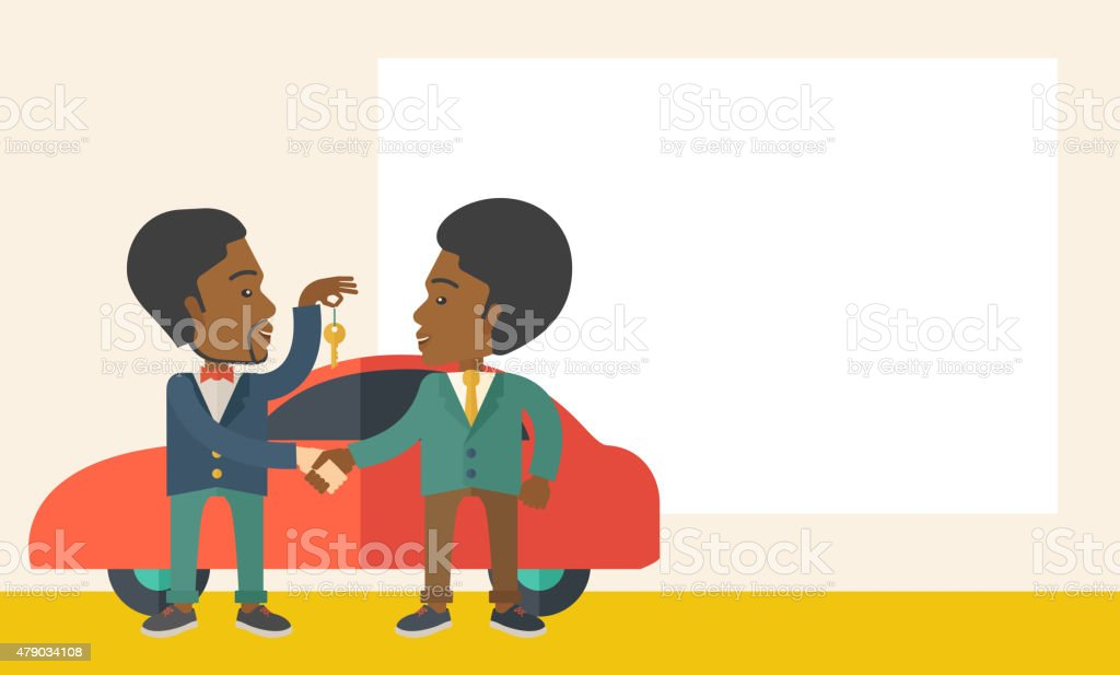 Black man handed a key to other black man vector art illustration