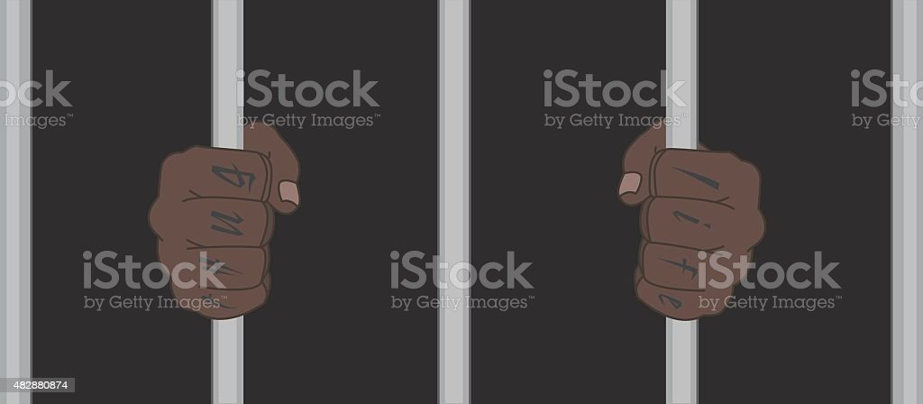 Black man hands with tattoo holding prison bars vector art illustration