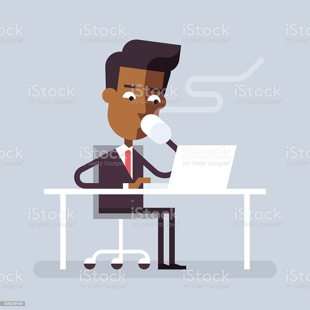 Black man has coffee break with a laptop. Vector. vector art illustration